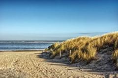 Morgendlicher Blich auf Nordsee mit Dünen
